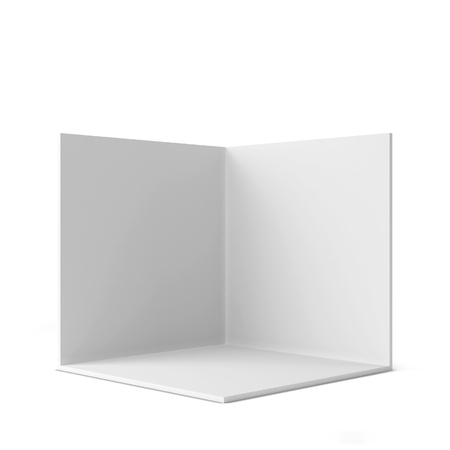 Foto de Simple trade show booth. Square corner. 3d illustration isolated on white background - Imagen libre de derechos