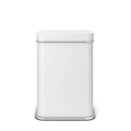 Photo pour Rectangular tin can for tea or coffee. 3d illustration isolated on white background - image libre de droit