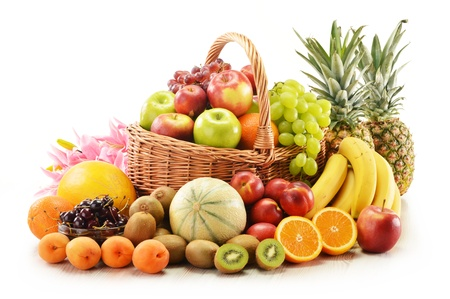 Photo for Composition with assorted fruits in wicker basket isolated on white - Royalty Free Image