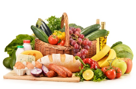 Photo pour Assorted grocery products including vegetables fruits wine bread dairy and meat isolated on white - image libre de droit
