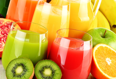 Photo for Composition with glasses of assorted fruit juices. Detox diet - Royalty Free Image