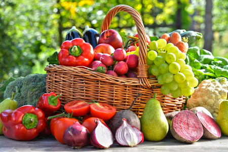 Photo for Fresh organic vegetables and fruits in the garden. Balanced diet - Royalty Free Image