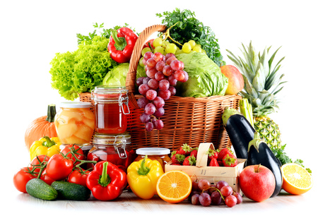 Composition with organic food isolated on white background. Balanced diet
