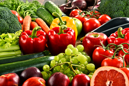 Photo for Composition with a variety of organic vegetables and fruits. - Royalty Free Image