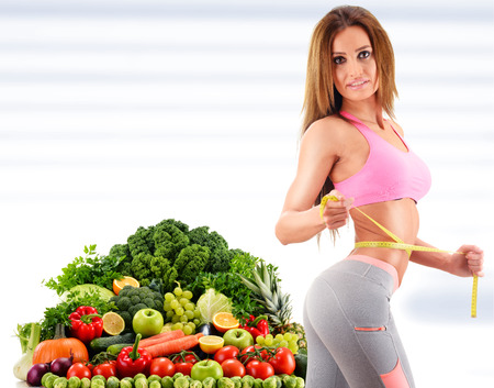 Photo for Dieting. Balanced diet based on raw organic vegetables and fruits - Royalty Free Image