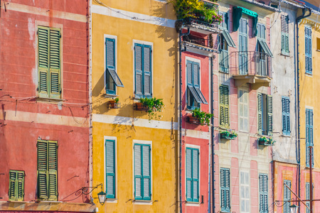 Foto de Architecture of Portofino, in the Metropolitan City of Genoa on the Italian Riviera in Liguria, Italy - Imagen libre de derechos