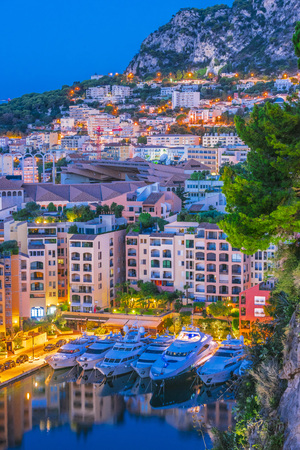 Photo pour View of the city of Monaco on French Riviera after sunset. - image libre de droit