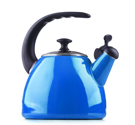 Foto de Traditional stainless steel stovetop kettle with whistle isolated on white background - Imagen libre de derechos