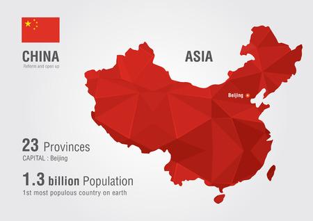 Ilustración de China world map with a pixel diamond texture  World map geography  - Imagen libre de derechos