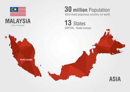 Illustration pour Malaysia world map with a pixel diamond texture. World geography. - image libre de droit