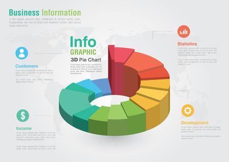 Ilustración de Business 3D Pie chart infographic  Business report creative marketing  Business success  - Imagen libre de derechos