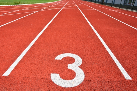 Photo pour Running track with number 3. Colorful background for sport. - image libre de droit