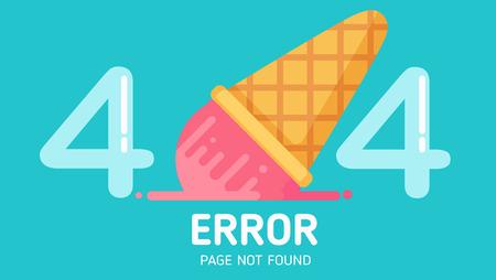 Illustrazione per 404  ice-cream fall error page not found vector graphic background pastel - Immagini Royalty Free
