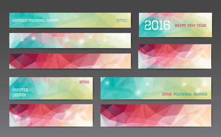 Illustration pour Abstract polygonal banner templates in different sizes - image libre de droit