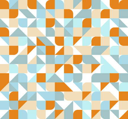 Illustration for Vector seamless square triangle circle geometric pattern, orange and blue - Royalty Free Image