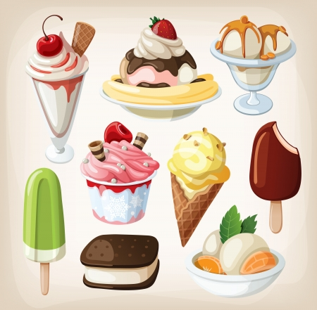 Foto de Set of colorful tasty isolated ice cream  - Imagen libre de derechos