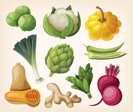 Set of exotic vegetables.
