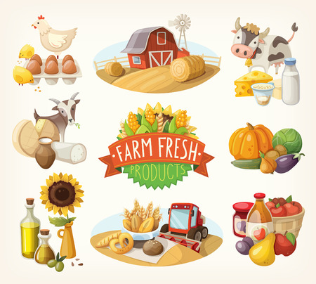 Illustration for Set of illustrations with farm fresh products and animals - Royalty Free Image