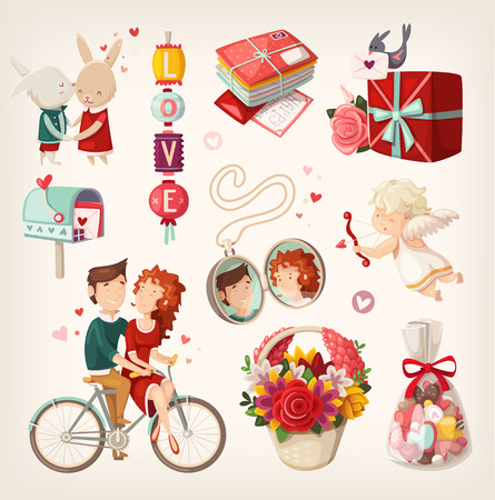Illustration for Set of romantic valentine items and people. - Royalty Free Image