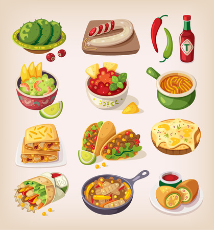 Illustration for Mexican street, restaraunt and homemade food and product icons for ethnic menu - Royalty Free Image