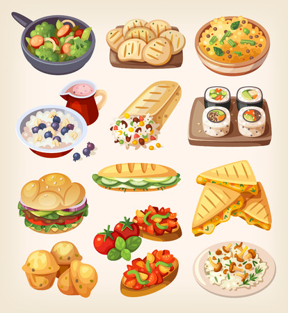 Illustration for Vegetarian street food and restaraunt dishes. - Royalty Free Image