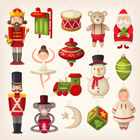 Illustration pour Set of colorful retro wooden christmas tree toys. - image libre de droit