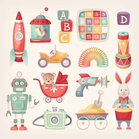 Illustration pour Colorful retro toys from the 60th in vintage colors. - image libre de droit