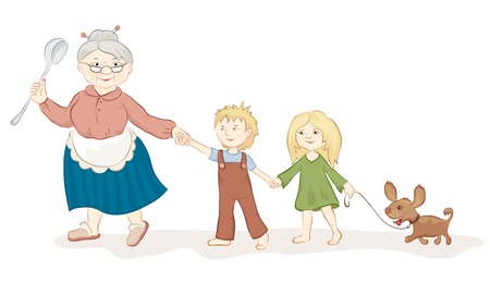 Illustration for The good grandmother with children's - Royalty Free Image