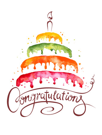 Illustration for Watercolor illustration  Cake and Congratulations - Royalty Free Image