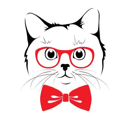 Illustration pour illustration -- Stylish cat hipster - image libre de droit