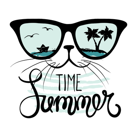 Illustration for Cat in sunglasses/Funny summer hand drawing calligraphy, vector illustration - Royalty Free Image