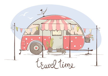 Illustration pour Summer travel in a house on wheels / Funny pink retro trailer, vector illustration - image libre de droit