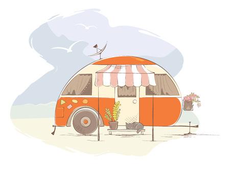 Illustration pour Summer travel in a house on wheels / Funny orange retro trailer on the beach, vector illustration - image libre de droit