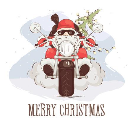 Ilustración de Christmas card - Santa biker Vector illustration, Santa Claus on chopper with gifts and trees - Imagen libre de derechos