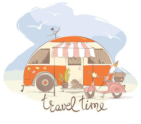 Illustration pour Summer travel in a house on wheels / Funny retro trailer, vector illustration - image libre de droit