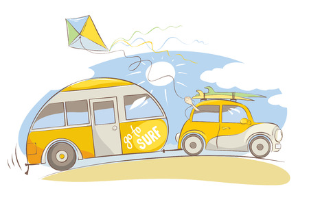 Illustration pour Summer travel in a house on wheels / yellow retro car with surfboards on beach, vector illustration - image libre de droit