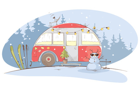 Illustration pour Winter travel in a house on wheels / Funny red house on wheels in the Christmas forest, vector illustration - image libre de droit