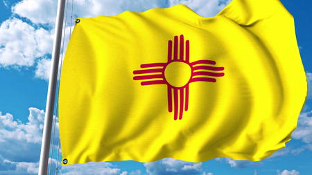 Photo for Waving flag of New Mexico. 3D rendering - Royalty Free Image