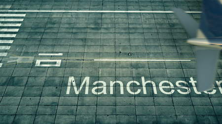 Foto de Aerial view of an airplane arriving to Manchester airport. Travel to United Kingdom 3D rendering - Imagen libre de derechos