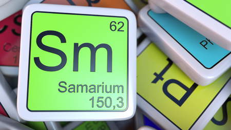 Foto de Samarium Sm block on the pile of periodic table of the chemical elements blocks. 3D rendering - Imagen libre de derechos