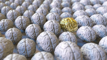 Photo pour Brain made of gold among the usual ones. Genius, mastermind, talent or education conceptual 3D rendering - image libre de droit