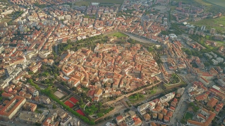 Photo for Aerial shot of star shaped city of Grosseto. Tuscany, Italy - Royalty Free Image