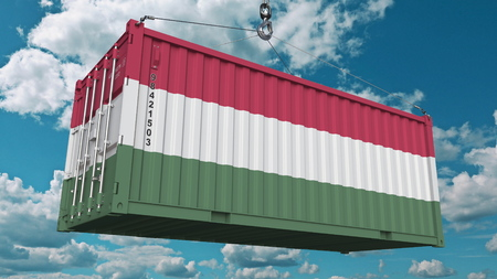 Foto de Loading container with flag of Hungary. Hungarian import or export related conceptual 3D rendering - Imagen libre de derechos