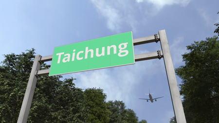 Foto de Airliner landing in the city. 3D - Imagen libre de derechos