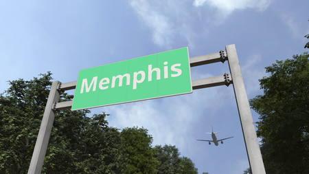 Foto de Plane landing in Memphis, United States. 3D rendering - Imagen libre de derechos