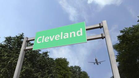 Foto de Airliner flies to Cleveland. Travelling to United States conceptual 3D rendering - Imagen libre de derechos