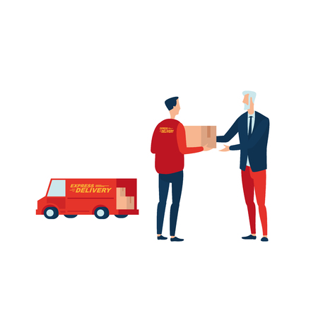 Photo pour Express delivery. Courier passes the parcel to the client. Illustrates the service of fast delivery from hand to hand. - image libre de droit