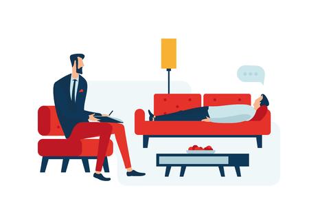 Illustrazione per Person at the reception of a psychologist. - Immagini Royalty Free