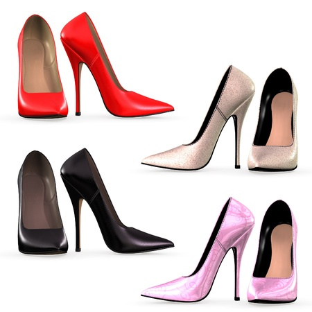 Isolated collection of high heels