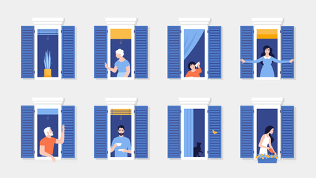 Illustrazione per People in window frames. Neighbors that live in apartments. The facade of the house. Vector flat illustration - Immagini Royalty Free